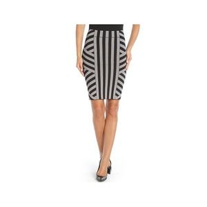 Black Grey Scarlett Bandage Power Pencil Skirt L